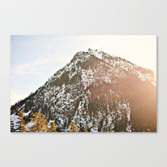 Snowy Mountain Peak in the Sun Canvas Print