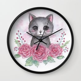 Rose kitty Wall Clock