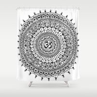 ohm Shower Curtains featuring Ohm Mandala by Sarah Ottino