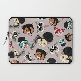 Pop Cats - Pattern French Gray Grey Laptop Sleeve