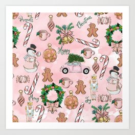 THE VERY PINK CHRISTMAS WATERCOLOR PATTERN Art Print