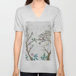 Chinoiserie Panels 1-2 Silver Gray Raw Silk - Casart Scenoiserie Collection Unisex V-Neck