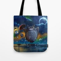 studio ghibli Tote Bags featuring Studio Ghibli: My Neighbour Totoros by Laurence Andrew Page Illustrator
