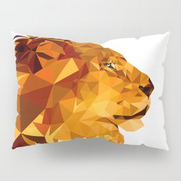 Geometric Lion Wild animals Big cat Low poly art Brown and Yellow Pillow Sham