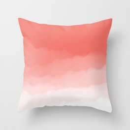 Living Coral Watercolor Ombre (Pantone Living Coral) Throw Pillow