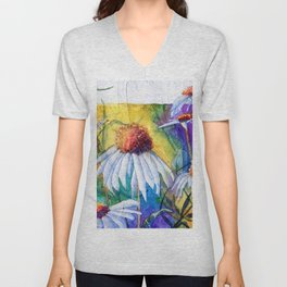 Cone Flowers by Maureen Donovan Unisex V-Neck