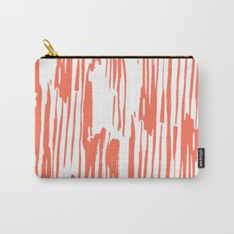 Bamboo Stripes White on Deep Coral Carry-All Pouch