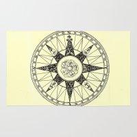 compass Area & Throw Rugs featuring Compass by Smokacinno