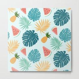 Tropical Nature Palm Tree Leaf Watermelon Pineapple Pattern Metal Print