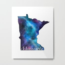 Minnesota State Galaxy Watercolor Metal Print