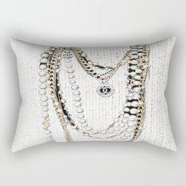 vintage white gold necklace Rectangular Pillow
