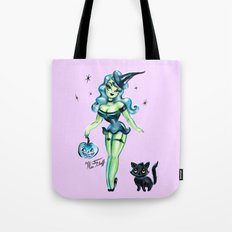 Pinup Witch With Fuzzy Black Cat Tote Bag