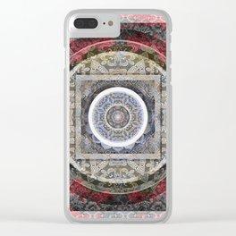 Rose Pink and Gentle Grey (gray) Tibetan Boho Mandala Print Clear iPhone Case
