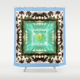 across the universe: palm isles mandala Shower Curtain