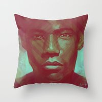 childish gambino Throw Pillows featuring Gambino by NArtist_P3rhaps