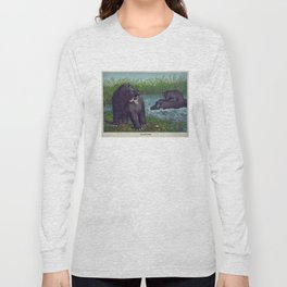 Vintage Illustration of Hippopotamuses (1874) Long Sleeve T-shirt