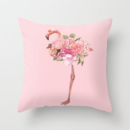 Flamingo with Flowers Crown Throw Pillow