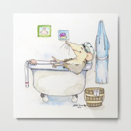 Stu in the Bath Metal Print
