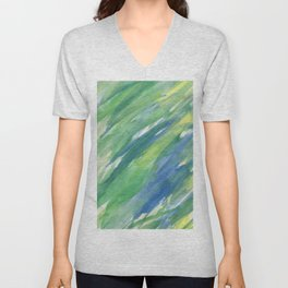Blue green yellow watercolor hand painted brushstrokes Unisex V-Neck