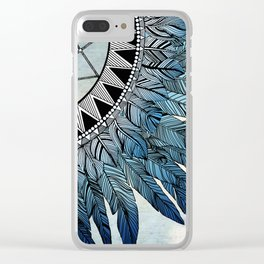 blue feather dreamcatcher Clear iPhone Case