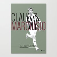 juventus Canvas Prints featuring Marchisio FC Juventus / Serie A Superstar Football Player by Filippo Maniscalco