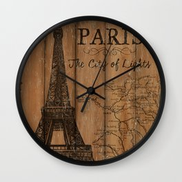 Vintage Travel Poster Paris 2 Wall Clock
