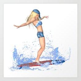 Surfer Girl Art Print