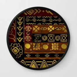 Ethnic African Golden Pattern on black and brown Wall Clock