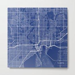 Tampa Map, USA - Blue Metal Print