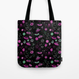 A little green person visited yesterday Tote Bag