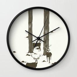 bucks in the snow Wall Clock