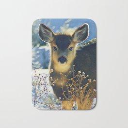 Blue Baby Deer in Winter Light by CheyAnne Sexton Bath Mat