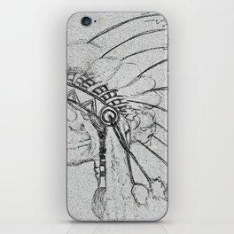 indian skull sketch iPhone Skin