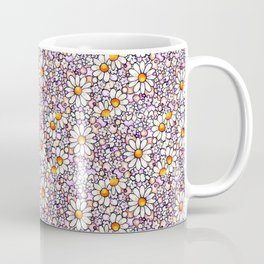 Blush Daisies and Berries Tiled Pattern Coffee Mug