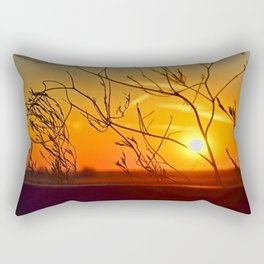 Sunset through the bushes Rectangular Pillow