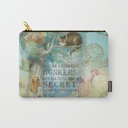 Wonderland - Bonkers Quote - Vintage Style Carry-All Pouch