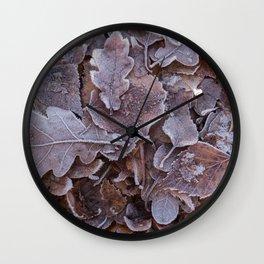 Fallen Oak Leaves Autumn Scene #decor #society6 #buyart Wall Clock
