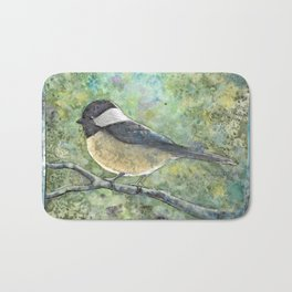 Watercolor Chickadee Bath Mat