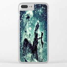 Nebula Galaxy : Teal Pillars of Creation Clear iPhone Case