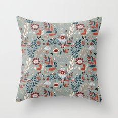 Deep Indigos & Gray Garden Hearts Throw Pillow