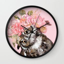 Owl with Flowers Crown Wall Clock