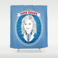 leslie knope Shower Curtains featuring Vote Knope by geeksweetie
