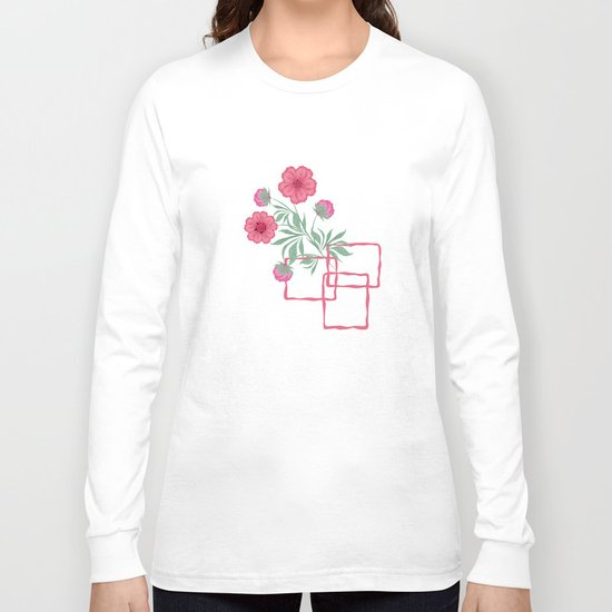 Red ,pink flowers on black background . Long Sleeve T-shirt