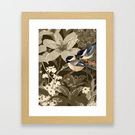 Bird-Chickadees with Lillies Framed Art Print
