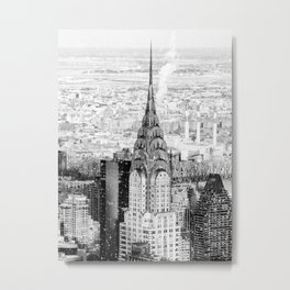 Snow - New York City - Chrysler Building Metal Print