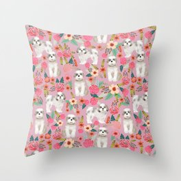 Shih Tzu florals love gift for dog person pet friendly portrait dog breeds unique small puppy Throw Pillow