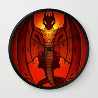 smaug Wall Clocks featuring The Hobbit- Smaug by prpldragon