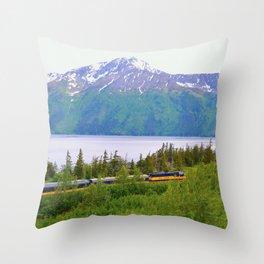 Alaska Passenger Train - Bird Point Throw Pillow