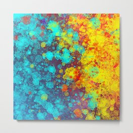 Watercolor and Splatter - Colorful Metal Print