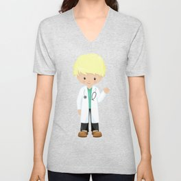 Cute Boy, Doctor, Blond Hair, Boy Wearing Lab Coat Unisex V-Neck